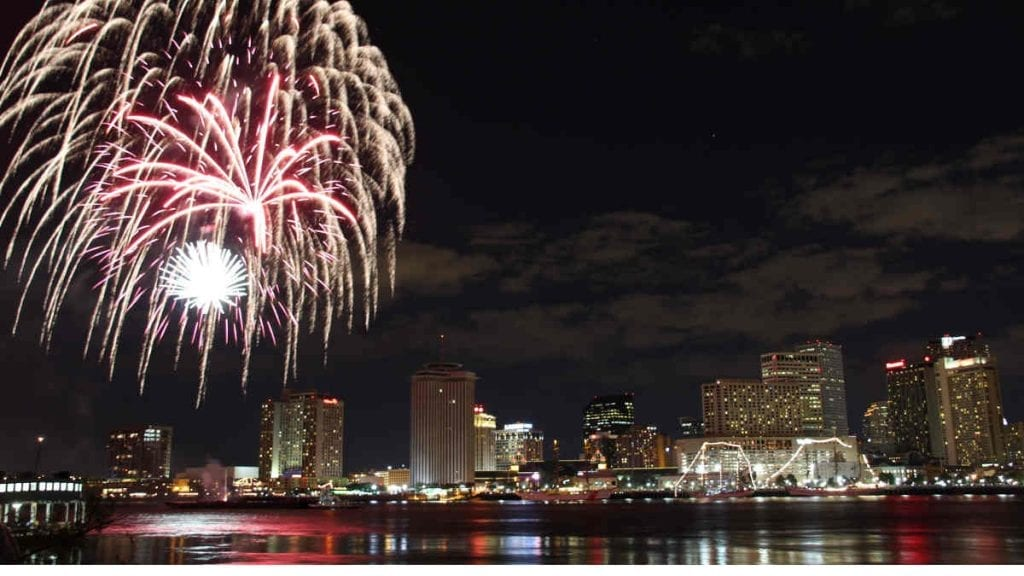 fireworks New Year's Eve New Orleans