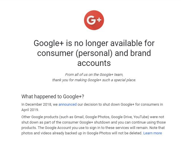 Google + Account - Ain't There No More Screenshot