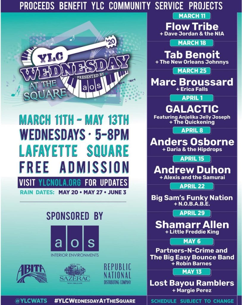 Wednesday at the Square 2020 Schedule | New Orleans Local
