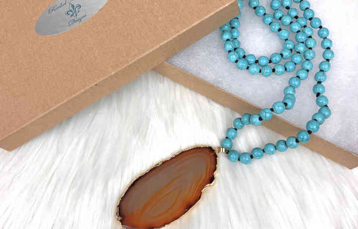 Turquoise Magnesite Beaded Necklace | New Orleans Local