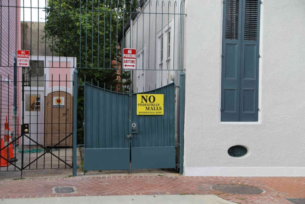 No Pedestrian Mall Sign on Gate