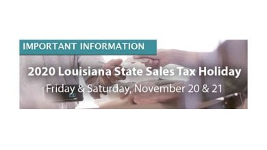 2020 Louisiana Sales Tax Holiday