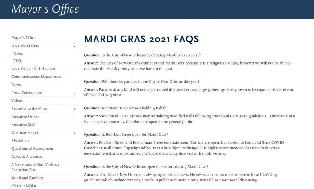 Mardi Gras 2021 City of New Orleans Website FAQ