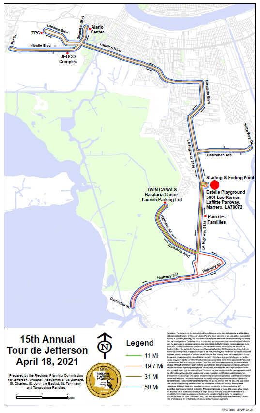 Tour de Jefferson 2021 map